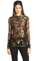 Oscar de la Renta Gold Black Floral Chantilly Lace Blouse - Lyst