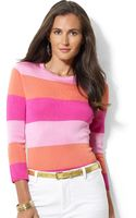 Lauren by Ralph Lauren Petite Three-Quarter-Sleeve Striped Top - Lyst