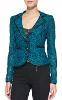 Nanette Lepore I Spy Leather-trim Lace Jacket - Lyst