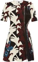 Carven Embellished Printed Side-pleated Dress - Lyst