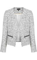 Topshop Womens Boucle Zip Blazer Monochrome - Lyst