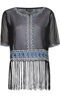 Topshop Womens Rumours Embroidered Fringe Tee  Multi - Lyst