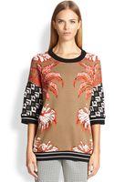 Etro Intarsia Crane Sweater - Lyst