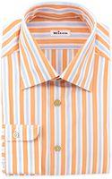 Kiton Trackstripe Dress Shirt Orange - Lyst