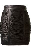 Balmain Black Pleated Leather Skirt - Lyst