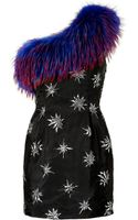 Matthew Williamson One Shoulder Dress with Fur Trim - Lyst