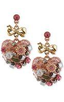 Betsey Johnson Multitone Vintage Heart Drop Earrings - Lyst