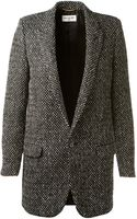 Saint Laurent Black and White Wool Tailor Jacket - Lyst
