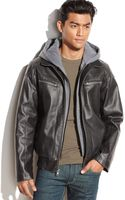 Vince Camuto Hooded Faux Leather Bomber Jacket - Lyst