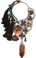 Vickisarge Artisan Silverplated Swarovski Crystal and Feather Necklace - Lyst