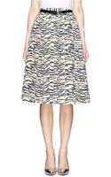 Toga Archives Zebra Print Pleat Midi Skirt - Lyst