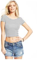 Guess Striped Cropped Top - Lyst