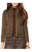 Ralph Lauren Lauren Leather Patch Denim Jacket - Lyst