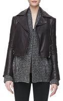 J Brand Aiah Leather Zip-front Jacket Kona Dark Kona X-small0 - Lyst