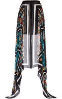 Elie Saab Printed Double Silk Georgette Fishtail Skirt - Lyst
