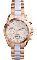 Michael Kors Mini Rose Goldenwhite Stainless Steel Bradshaw Chronograph Watch - Lyst