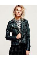 Free People Vegan Leather Hooded Motorcycle Jacket - Lyst