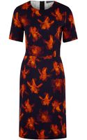 Paul Smith Black Label Orange Iris Silhouette Floral Print Shift Dress - Lyst