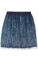 Julien David Metallic Fringed Jersey Mini Skirt - Lyst