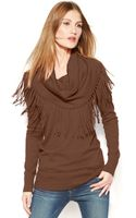 Michael Kors Michael Fringed Cowl-neck Sweater - Lyst