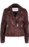 River Island Dark Red Zip Trim Leather Biker Jacket - Lyst