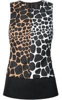 Michael Kors Contrast Giraffe Print Blouse - Lyst