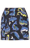 Kenzo Printed Stretchcotton Miniskirt - Lyst