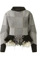 Sacai Wool Houndstooth Pattern Pullover Embellished with Silver Beads - Lyst