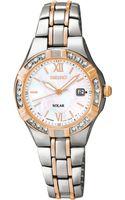 Seiko Womens Solar Diamond Accent Twotone Stainless Steel Bracelet Watch 27mm Sut146 - Lyst