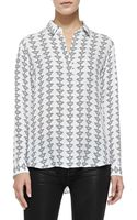 Theory Aquilina B Silk Button-front Blouse - Lyst