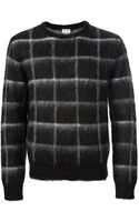 Saint Laurent Checked Sweater - Lyst