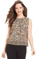 Jones New York Petite Animalprint Sleeveless Top - Lyst
