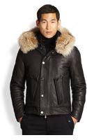 Michael Kors Leather  Fur Bomber Jacket - Lyst