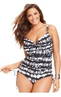 Michael Kors Tie-dye Ruched One-piece Swimsuit - Lyst