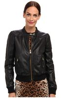 RED Valentino Leather Jacket with Perforated Stars - Lyst