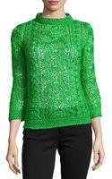 Oscar de la Renta Cable Knit Silk Pullover Sweater - Lyst