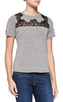 Rebecca Taylor Lace Inset Short Sleeve Top - Lyst