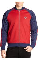 Fred Perry Cotton-blend Colorblock Track Jacket - Lyst