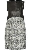 Proenza Schouler Leather and Cotton Blend Tweed Mini Dress - Lyst