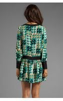 Anna Sui Deco Fans Print Crepe De Chine Dress in Teal - Lyst
