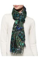Roberto Cavalli Shimmery Printed Cashmereblend Wrap - Lyst