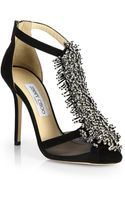 Jimmy Choo Fortune Suede Beaded Tstrap Sandals - Lyst
