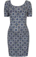 Topshop Womens Maternity Aztec Bodycon Dress Blue - Lyst