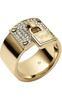 Michael Kors Goldtone Crystallized Plaque Ring with Padlock Charm - Lyst