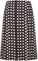 Proenza Schouler Black and White All Over Fil Coupe Pleated Skirt - Lyst