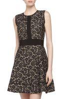 Nicole Miller Sleeveless Paneled Lace Dress - Lyst