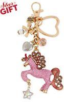 Betsey Johnson Gold-tone Pink Unicorn Charm Key Chain - Lyst