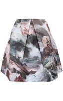 Carven Printed Satin Skirt - Lyst