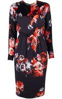 MSGM Floral Long Sleeve Dress - Lyst