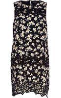 River Island Black Floral Embroidered Shift Dress - Lyst